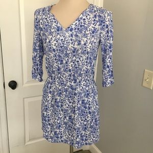 Skies are Blue Floral Toile Print Dress